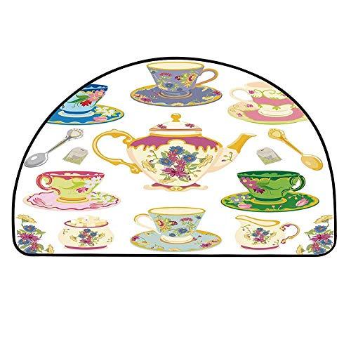 YOLIYANA Tea Party Half Circle Rug,Selection of Vivid Colored Teacups Pot Sugar and Floral Arrangements in Corners Decorative Door Mat,11.8