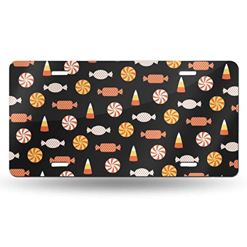 Poream Halloween Candy Vector Image Customized Novelty Label Aluminum License Plate Cover Protector for All Standard Cars 6