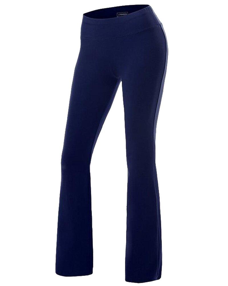 Dark bluee Women's Yoga Pants Tummy Control Workout Running 4 Way Stretch Boot Leg Yoga Pants