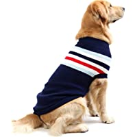 NACOCO Dog Sweater Pet Winter Sweaters Striped Holiday for Large Dog (XL, Blue)