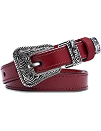 "Women'sGenuine Leather Belts - KQueenStar Ladies Vintage Thin Waist With Metal Buckle (Suit Size 27""-32"", Red)"