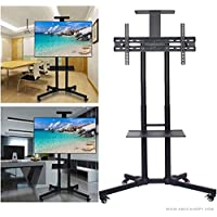 ABCCANOPY Rolling Trolley TV Cart Mount for Most 32-65 Inch LED LCD OLED Flat Screen,Plasma TVs TV & Monitors with Adjustable Shelf