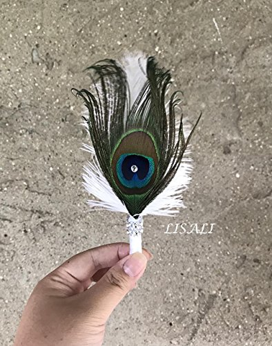 LISALI Peacock Feather Bouquet,Feather Fan, Bridesmaid Peacock Handfasting, Boutonnere,20s Gatsby Vintage Wedding Bouquet (W/Boutonnere)