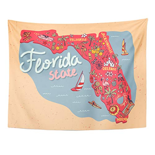 - Semtomn Tapestry Wall Hanging Orange Map of The State Florida USA Travel 60