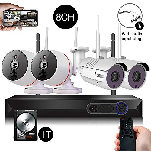Security Camera System Wireless 8channels DVR 1080P WiFi NVR Kits + 2PCS 2.0MP Wireless Security Cameras + 2PCS PIR 2-Way Audio Home Surveillance Camera, 65FT Night Vision, 1TB Hard Drive