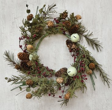 Country Bell Pine Ring Old World Style Burgundy Pip Berries Pinecones Eucalyptus Bells Winter Floral Decor ()