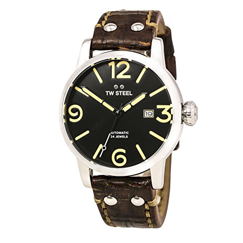 TW Steel Men's 'Maverick' Quartz Stainless and Leather Casual Watch, Color:Brown (Model: MS5)