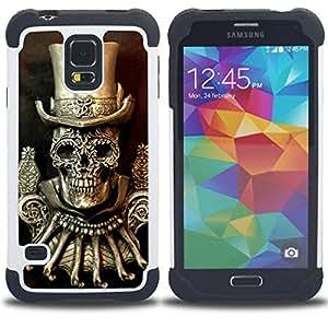 - GOLDEN TOP HAT DEATH SKULL BLING - - Doble capa caja de la armadura Defender FOR Samsung Galaxy S5 I9600 G9009 G9008V RetroCandy
