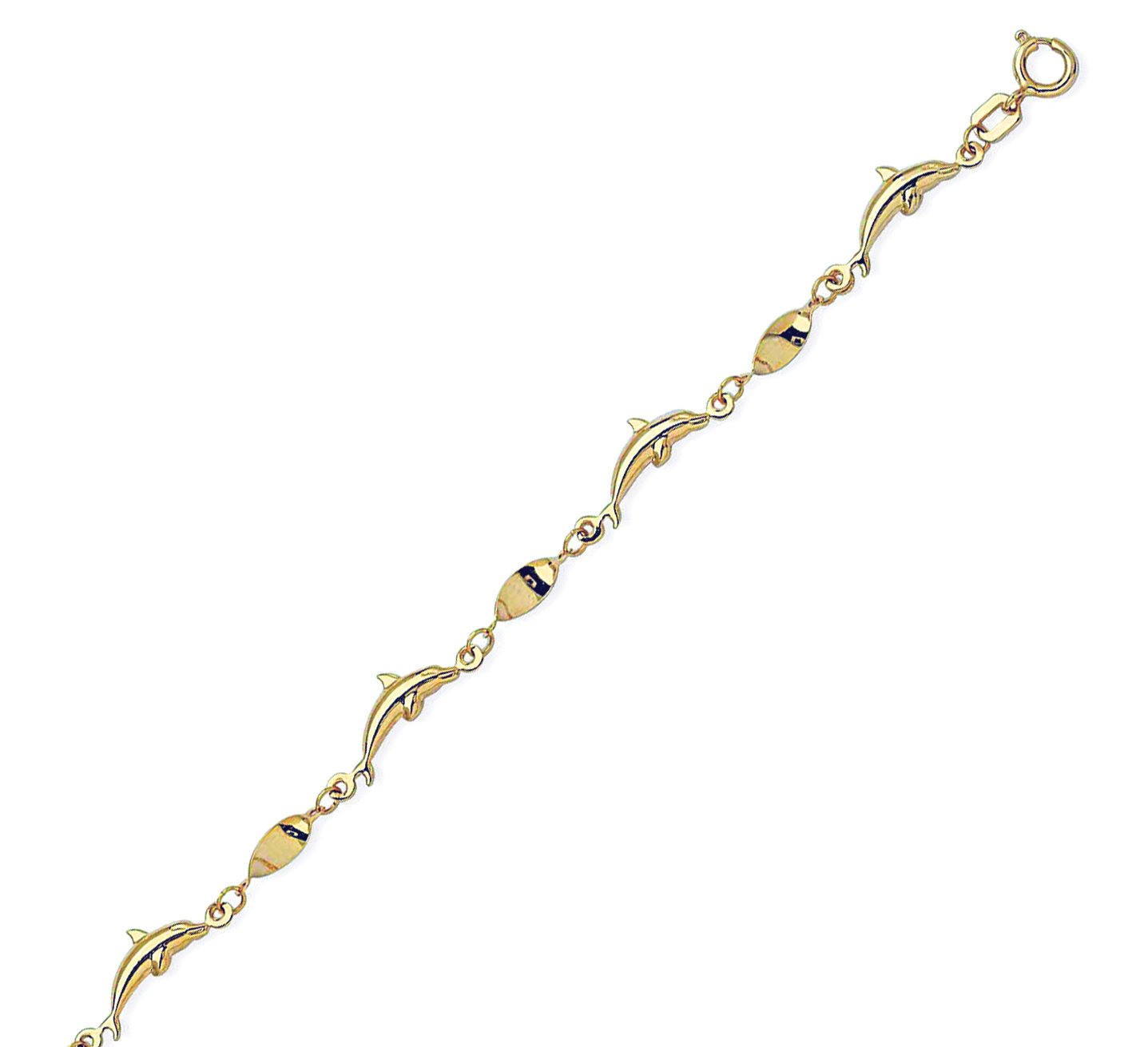 Anklet 14k Yellow Gold Twist Oval Links with Polished Dolphins Adjustable Length