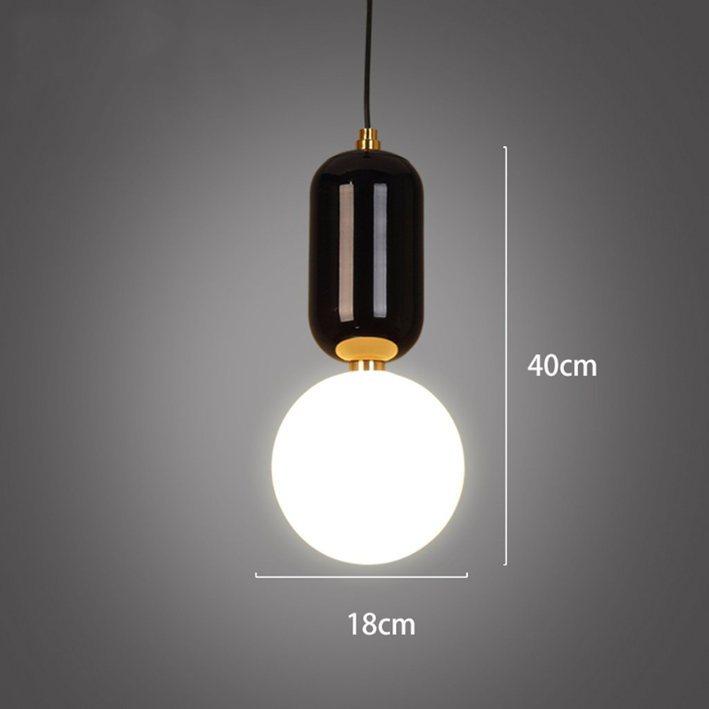 ZYANZ- Chandelier Industrial Wind Retro (E27 Lighting Interface) Black And White Single Chandelier Modern Kitchen Bedroom Comma Chandelier ( Color : Black , Size : 18cm40cm )