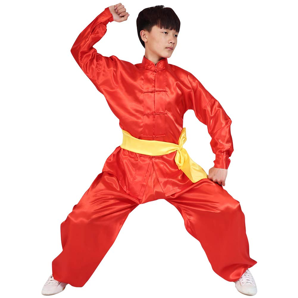 uirend Martial Arts Unisex Adult Kids Sets Performances Kung Fu Tai Chi Clothes Red by uirend