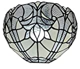 Amora Lighting Tiffany Style Wall Lamp White Jeweled 1 Light Stained Glass Vintage Antique for Bedroom Living Room 12