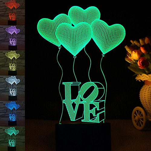 Pawaca USB Night Light Lamp 3D Illusion LOVE HEART Pattern LED Table Lamps for Desk Bedroom Valentine Birthday Holiday Xmas Baby Nursery Toddler Room Decoration by Pawaca