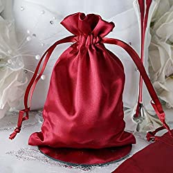 "Efavormart 60PCS Burgundy Satin Gift Bag Drawstring Pouch Wedding Favors Bridal Shower Candy Jewelry Bags - 5""x7"""