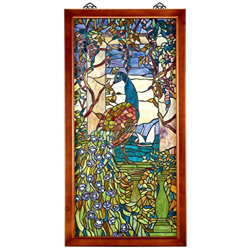 Stained Glass Panel - Peacock With Wisteria Wood Framed Stained Glass Window Hangings - Window Treatments