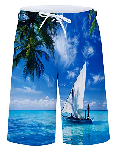 Leapparel 80s Adult Plus Size Coconut Tree Boardshorts Men's Swim Trunk Quick Dry Side Pockets Casual Surf Yoga Water Jogging Training Lightweight Clothing X-Large ()