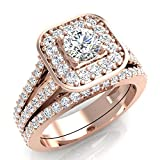 1.25 ct tw Cushion Halo Split Shank Diamond Engagement Ring Set 14K Rose Gold (Ring Size 9)