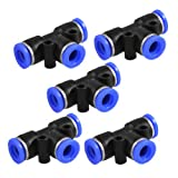 #1: 5 Pcs 8mm to 8mm 3 Ways Push in One Touch Tee Shaped Quick Fittings