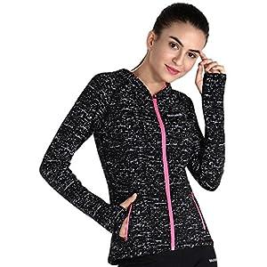 MotoRun Women Reflective Running Jackets Thumb Hole Coat Zipper Pockets Sports clothes Black XL