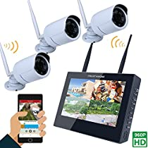 MOUNTAINONE 10 TFT 4CH 960P HD Wireless DVR Video Security System (NVR Kits)-3 PCS 1.3MP Wireless Weatherproof Bullet IP Cameras,Plug and Play,65ft Night Vision, No Hard Drive