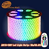 SuperonlineMall AC 110-120V Flexible Waterproof LED Strip Lights, 20m/65.6ft - RGB