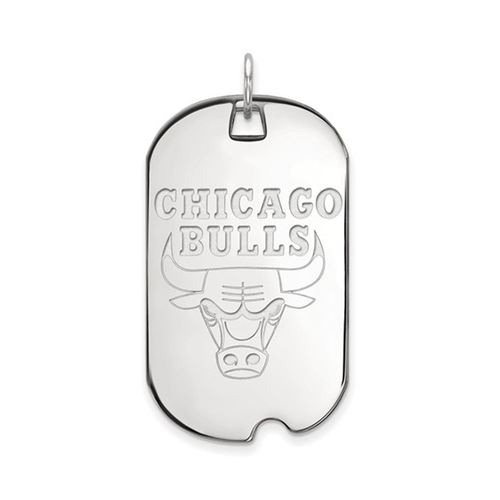NBA Chicago Bulls Large Dog Tag Pendant in Rhodium Plated Sterling Silver