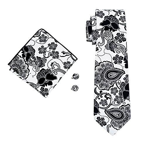 White Men's Set DiBanGu and Cotton Necktie Floral Black and Cufflink Pocket Square Handkerchief Tie OddWv