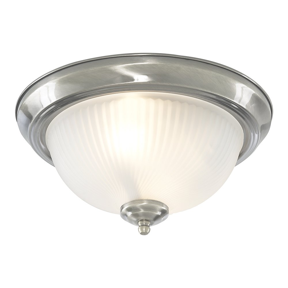 Bathroom Flush Ceiling Light Satin Silver with Opaque Ribbed Glass, 4042 Searchlight