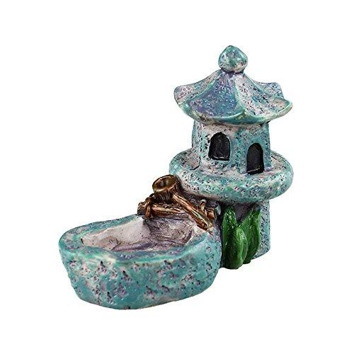 Danmu Mini Resin Pavilion with A Small Pond Miniature House Fairy Garden Micro Landscape Home Garden Decoration Plant Pots Bonsai Craft Decor