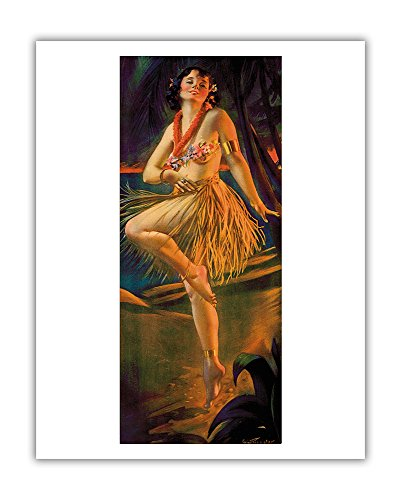 (Pacifica Island Art Firelight Hula - Hawaiian Pin Up Girl - Vintage Yard-Long Print by Gene Pressler c.1920s - Hawaiian Fine Art Print - 11in x 14in)
