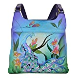 Anna by Anuschka Genuine Leather Triple Compartment Satchel | Hand Painted Original Artwork | Midnight Peacock