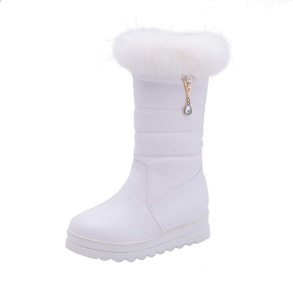 Hy 2018 Winter Frauen Schnee Stiefel Stiefel Winter Künstliche PU Flache Stiefelies Dicken Boden Warme Große Größe Mitte Stiefel Outdoor Ski Schuhe (Farbe   Weiß Größe   43)