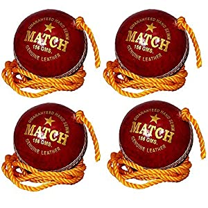 PK Enterprises Leather Match Practice Hanging Cricket Ball Red Pack of 4