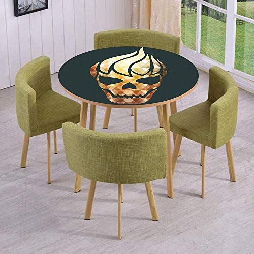 Round Table/Wall/Floor Decal Strikers,Removable,Gothic Skull with Fractal Effects in Fire Evil Halloween Concept,for Living Room,Kitchens,Office Decoration