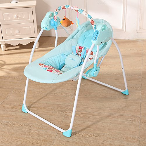 Infant Metal Cradle - Decdeal Electric Baby Cradle Swing Rocking Remote Controller Chair for Newborn Infant