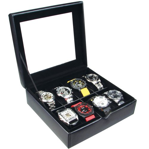 ikee design deluxe black faux leather watch collector case