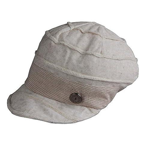 Morehats Soft Cotton Knit Slouchy Beanie Short Brim Baseball Cap - Linen