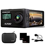 4K Action Camera 2.45'' LCD Touchscreen SOOCOO S200 20MP Sports Camera Ultra HD WIFI Action Camera Waterproof with Remote Control/Mic/2 Batteries/Travel Bag-Black, 170 Degree Wide-Angle Lens