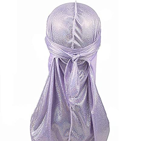 3pcs Pack Multicolour 360 Waves Long Tail Sparkly Flour Silky Durag Cap For Men Women Doo rag