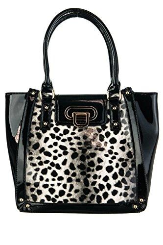 (lcolette Shinny Leopard Print Accented Top Handle Tote Bag lp1012 (black))