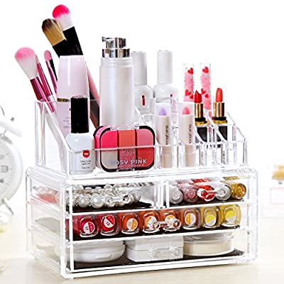 """BATHWA Acrylic Jewelry & Cosmetic Storage Display Boxes Two Pieces Set 4 Drawers Cosmetics Storage with 16 Top Compartments Storage Case- 9.4 """"x 5.1""""x 7.2"""" - ACRYLIC COSMETIC & MAKEUP STORAGE CASE: Made of Durable Clear Acrylic, FAST and EASY washing Saves your Valuable Time! After repeated cleaning, still as a new Makeup Organizer. LARGE CAPACITY & CONVENIENT: 2 Large drawers, 2 small drawers and 16 top compartments. The perfect multi-purpose organizer roomy enough to hold many shapes and sizes of your favorite makeup jewelry and much more. PERFECT DISPLAY & ORGANIZE: Removable mesh liner can protect your jewelry and cut down noise; 4 easy-sliding drawers, your makeup storage LOOKS BETTER, more Space than other clear organizers. - organizers, bathroom-accessories, bathroom - 51bfoYK8ylL. SS400  -"""