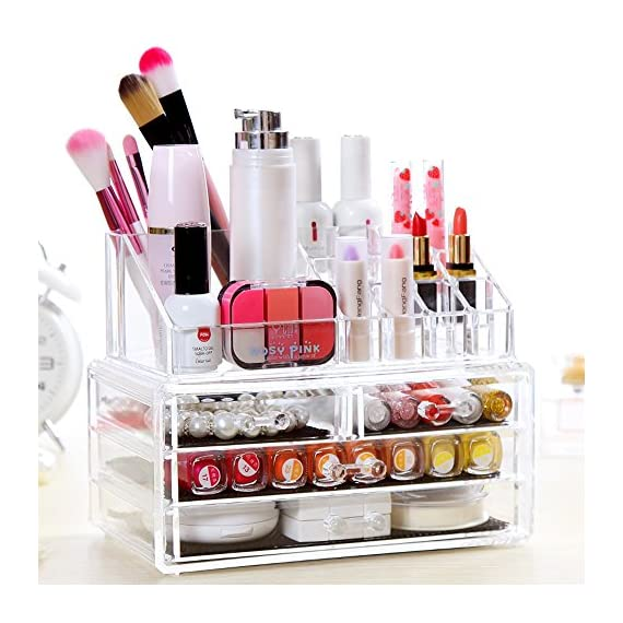 """BATHWA Acrylic Jewelry & Cosmetic Storage Display Boxes Two Pieces Set 4 Drawers Cosmetics Storage with 16 Top Compartments Storage Case- 9.4""""x 5.1""""x 7.2"""" - ACRYLIC COSMETIC & MAKEUP STORAGE CASE: Made of Durable Clear Acrylic, FAST and EASY washing Saves your Valuable Time! After repeated cleaning, still as a new Makeup Organizer. LARGE CAPACITY & CONVENIENT: 2 Large drawers, 2 small drawers and 16 top compartments. The perfect multi-purpose organizer roomy enough to hold many shapes and sizes of your favorite makeup jewelry and much more. PERFECT DISPLAY & ORGANIZE: Removable mesh liner can protect your jewelry and cut down noise; 4 easy-sliding drawers, your makeup storage LOOKS BETTER, more Space than other clear organizers. - organizers, bathroom-accessories, bathroom - 51bfoYK8ylL. SS570  -"""