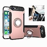 Funda iPhone 7/8 Plus [Con 360 ° Kickstand] Rotativo Ring Caso [Montaje de Coche Magnético] carcasa Doble Capa a Prueba de Choque protectora para Apple (iPhone 7/8 Plus, Oro rosa)