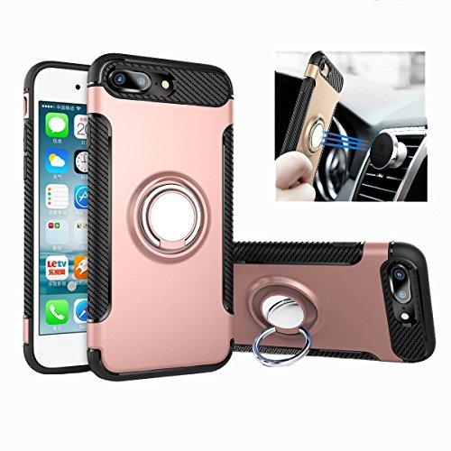 Funda iPhone 7/8 Plus [Con 360 ° Kickstand] Rotativo Ring Caso [Montaje de Coche Magnético] carcasa Doble Capa a Prueba de...