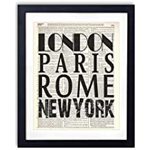 London Paris Rome New York Typography Vintage Dictionary Art Print 8x10