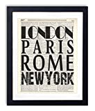 new york and paris wall art - London Paris Rome New York Typography Vintage Dictionary Art Print 8x10