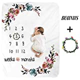 Baby Monthly Milestone Blanket - Floral Plush Fleece Baby Photography Backdrop Memory Blanket for Newborns Large - New Moms Baby Shower Gift Set
