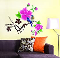 Decals Design 'Design Blue Birds with Flowers' Wall Sticker