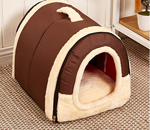 Brown L Brown L Pet nest Dog cat Indoor Folding Four Seasons Universal pet Bed Dual-use Removable and Washable Soft Cute Dome, Classic Brown (color   Brown, Size   L)