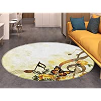 Music Non Slip Round Rugs Music Roses Romantic Antiquity Victorian Classic Bridal Floral Illustration Oriental Floor and Carpets Sepia Gold Yellow